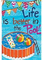 life is better in the pool, decorative yard flag