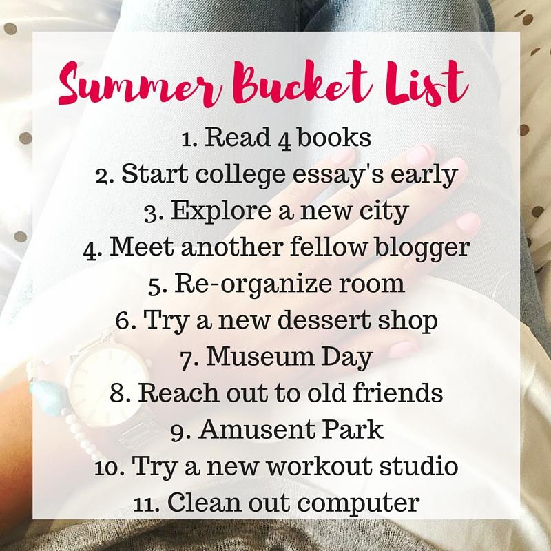 college summer bucket list