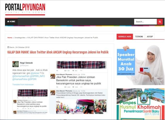 Dianggap Sebar Berita Bohong, Website Portal Piyungan Dipolisikan