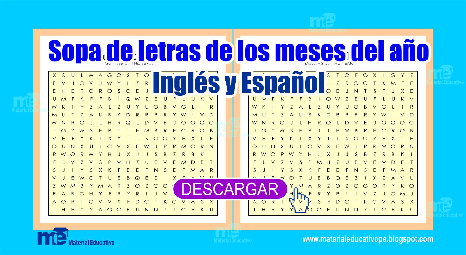 Sopa De Letras De Los Meses Del Ano Ingles Y Espanol Material