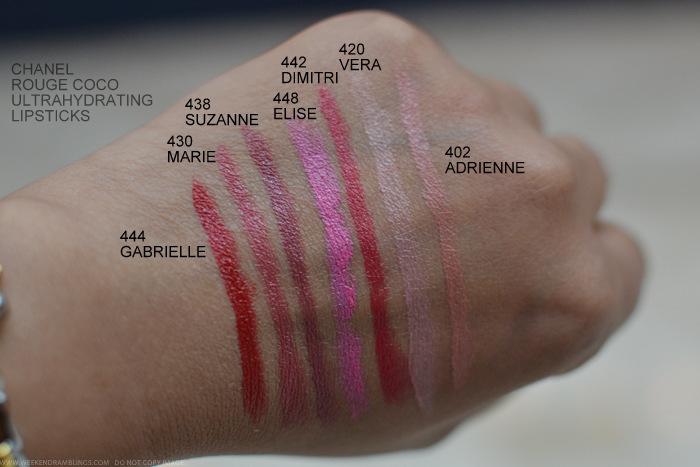 Chanel Rouge Coco Lipsticks Swatches 444 Gabrielle 430 Marie 438 Suzanne 448 Elise 442 Dimitri 420 Vera 402 Adrienne