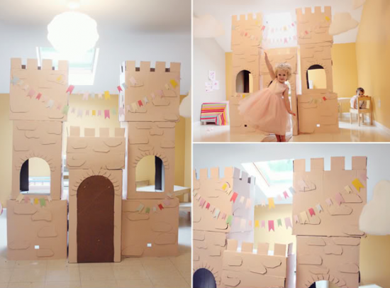 toy castle with recycle boxes