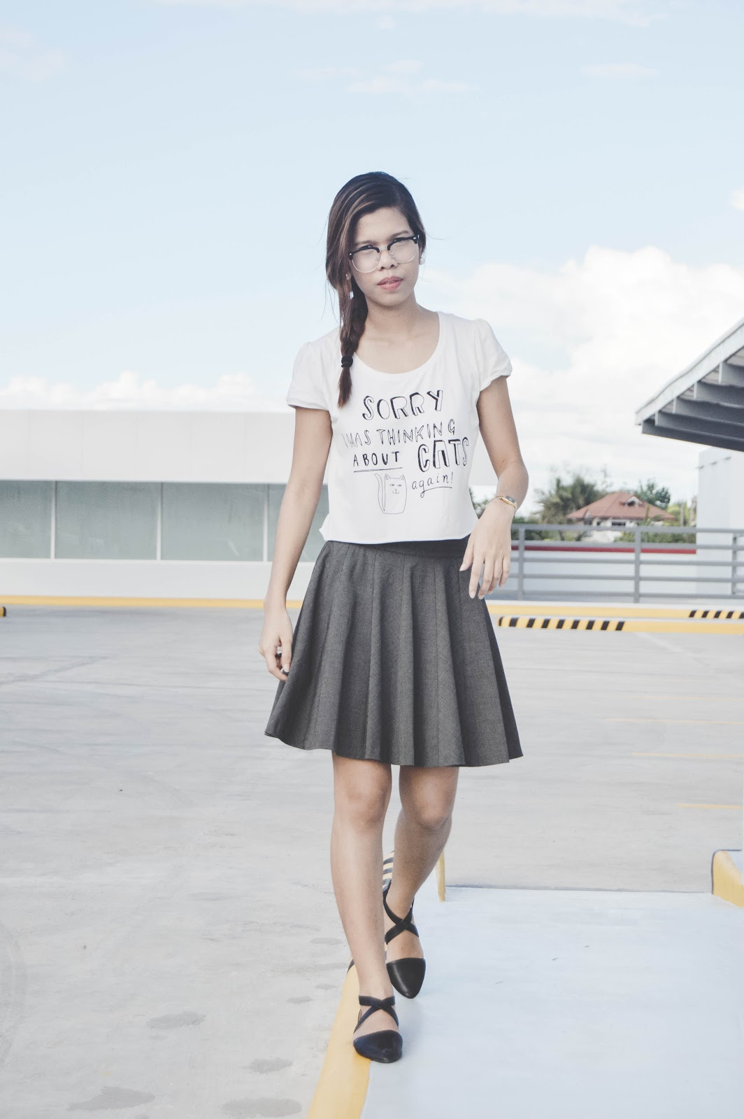 fashion blogger, style blogger, cebu blogger, cebu style blogger, blogger, filipina blogger, cebuana blogger, nested thoughts, katherine cutar, katherine anne cutar, katherineanika, katherine annika, ootd, ootd plipinas, filipina blogger, filipino blogger, skirts, ballet shoes, sunnies, metro sunnies, dainty look, girly look, cotton on, cat shirt, cropped top,