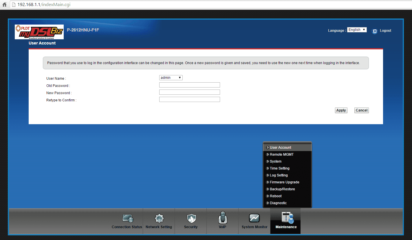 what is the admin password of pldt mydsl