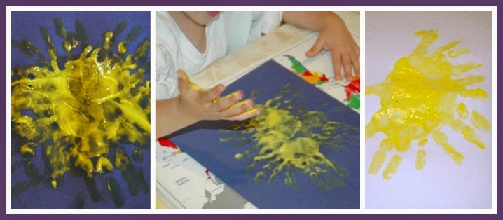 handprint sunshine craft for summer preschool