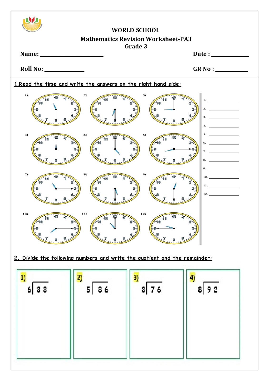 Birla World School Oman Homework For Grade 3 As On 28 01