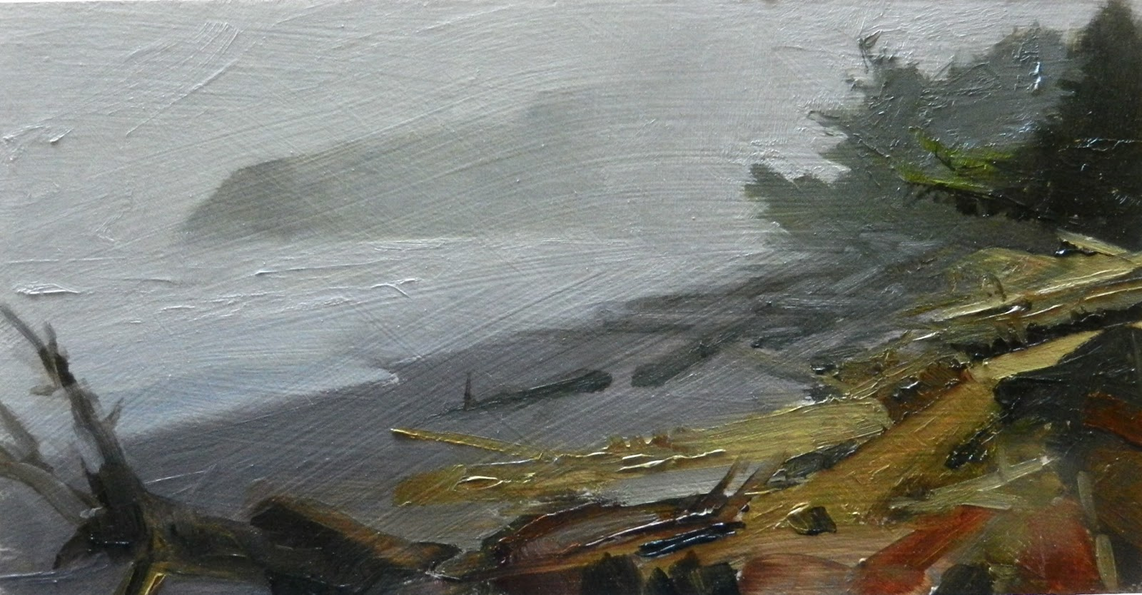 In Plein Air Quot North Head Light Quot Oil Landscape Painting Color Study For Studio Painting By