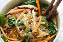 Japchae (Chap Chae) Korean Noodle Glass