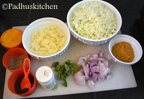 Ingredients for cabbage aloo curry