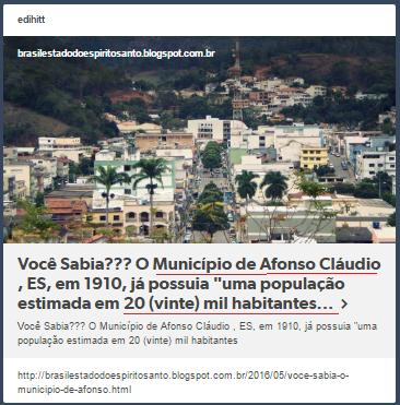 """Você Sabia??? O Município de Afonso Cláudio , ES, em 1910, já possuia """"uma população estimada em 20 (vinte) mil habitantes..."""