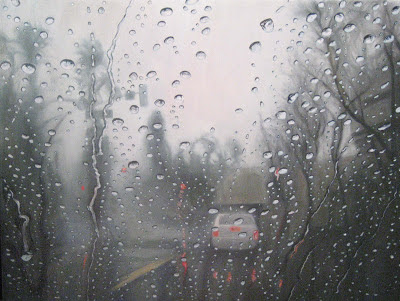 Katherine Kean, raindrops, contemporary landscape painting, atmospheric, wet weather