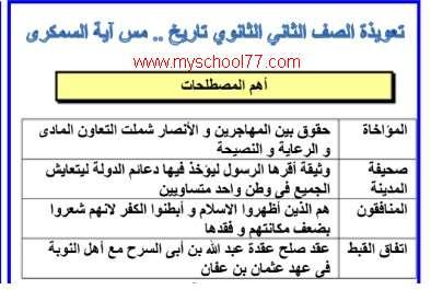 مذكرة مراجعة تاريخ الصف الثانى الثانوى ترم أول 2020- موقع مدرستى