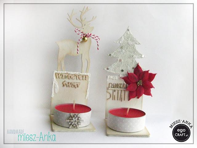 Świeczniki świąteczne z reniferem i choinką