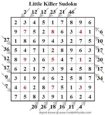 Little Killer Sudoku (Fun With Sudoku #245) Puzzle Solution