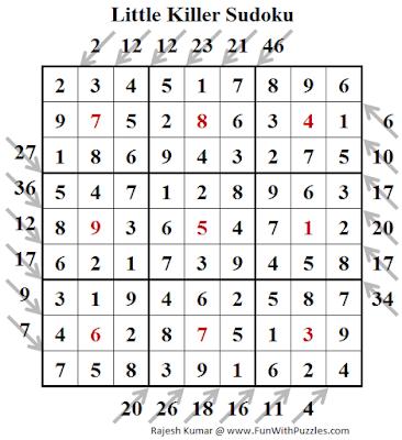 Little Killer Sudoku (Fun With Sudoku #245) Puzzle Solution