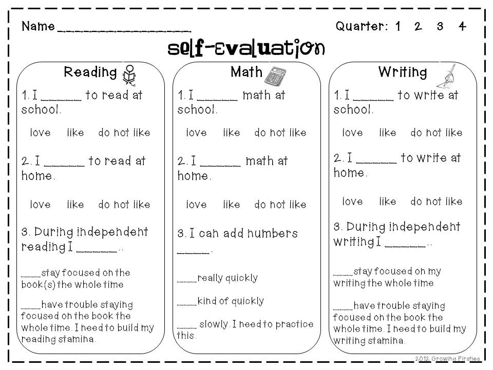 SelfEvaluation Freebie  Growing Firsties