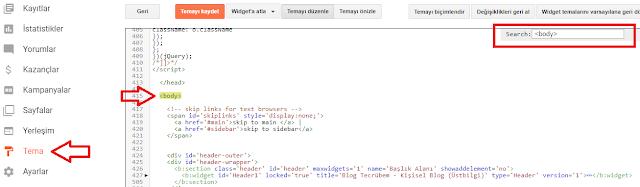 Blogger kodları