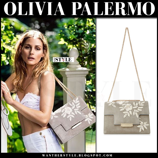 Olivia Palermo with grey suede floral embroidered bag Aerin Resort 2017 what she wore
