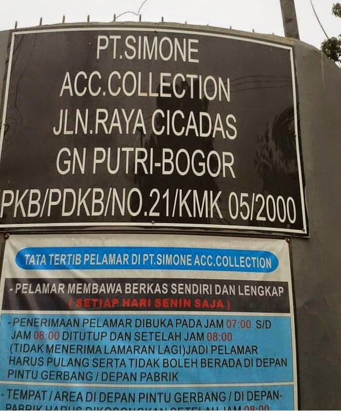 Lowongan Kerja Pt Simone Acc Collection Cicadas Bogor