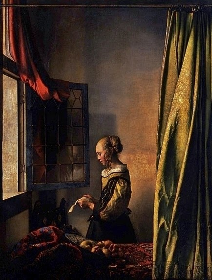 girl reading a letter at an open window paintings by johannes vermeer reading a letter at an 21954 | Girl reading a