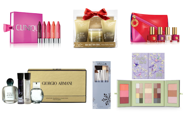 Clinique whole lotta colour, H20+ sea salt spa trio, Estee Lauder art of nails gift set, Armani Female miniature fragrance set, Stila Christmas brush set, Pixi early bird palette, Christmas gift guide, Christmas gift ideas, Boots, Marks and Spencer