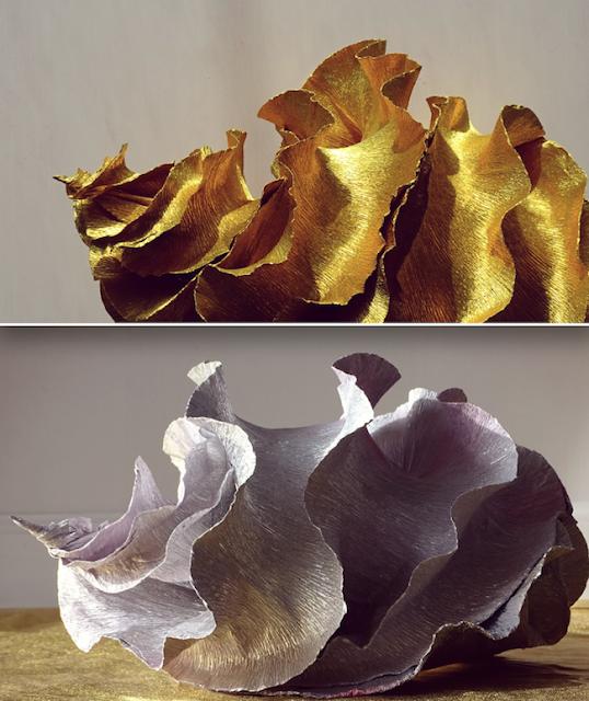 Natura e design, scultura di carta dalla forma marina. Eco design Roma.
