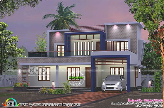 Flat roof 4 BHK double storied home