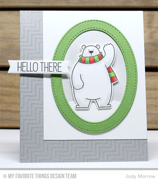 Handmade card from Jody Morrow featuring Birdie Brown Polar Bear Pals stamp set and Die-namics, Diagonal Chevron Background stamp, Snow Drifts, Stitched Oval Frames, and Blueprints 30 Die-namics #mftstamps