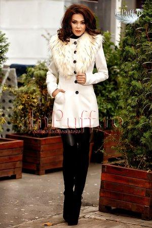 palton alb de dama