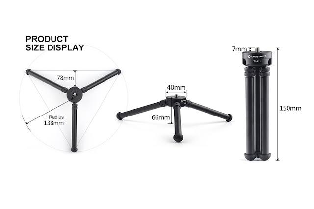 Sunwayfoto T1A11 Aluminium Tabletop Tripod dimensions