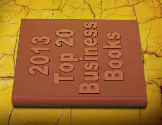 Picture of Brown book over golden marble table with 2013 Top 20 Business Books List on cover