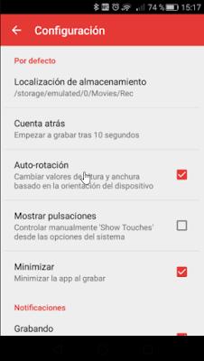 Otras configuraciones de Rec (Screen Recorder)