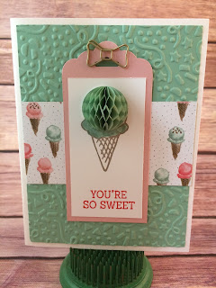 This cute Blushing Bride and Mint Macaron Birthday/Ice Cream Cone card uses Stampin' Up!'s: Honeycomb Happiness Sale a Bration stamp set, Honeycomb Embellishments, Birthday Bouquet Designer Paper, Confetti Embossing Folder, Bow Paper Clips, and the Scalloped Tag Topper Punch!  www.stampwithjennifer.blogspot.com