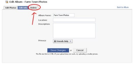 how to delete an album on facebook on iphone