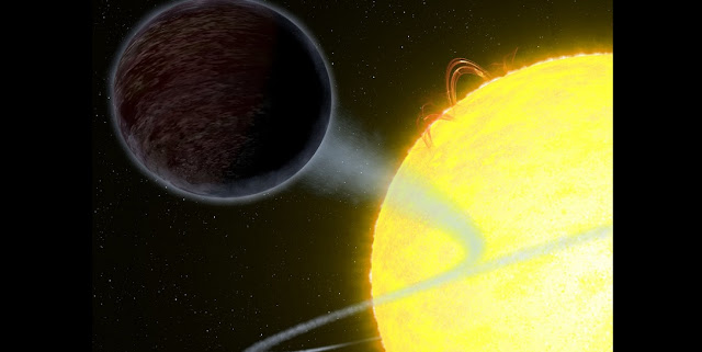 This artist's impression shows the exoplanet WASP-12b — an alien world as black as fresh asphalt, orbiting a star like our Sun. Scientists were able to measure its albedo: the amount of light the planet reflects. The results showed that the planet is extremely dark at optical wavelengths.  Credit: NASA, ESA, and G. Bacon (STScI)