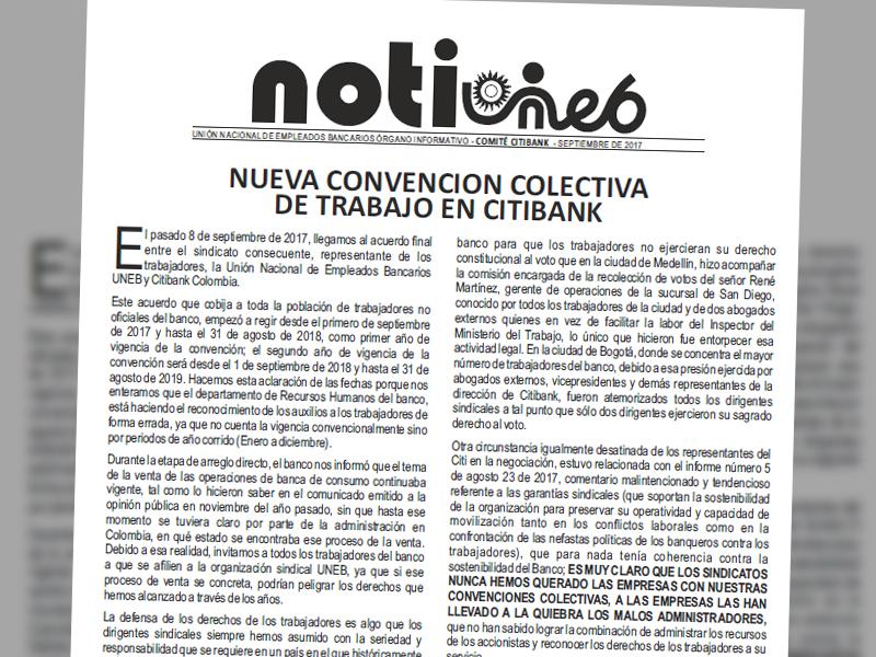 Notiuneb CitiBank septiembre de 2017
