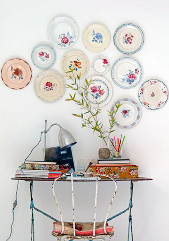 romantic and vintage style, wall decor flower ceramic plates collection