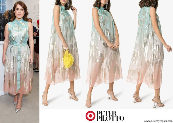 Princess Eugenie wore Peter Pilotto High-Neck Sleeveless Silk Blend Midi Dress