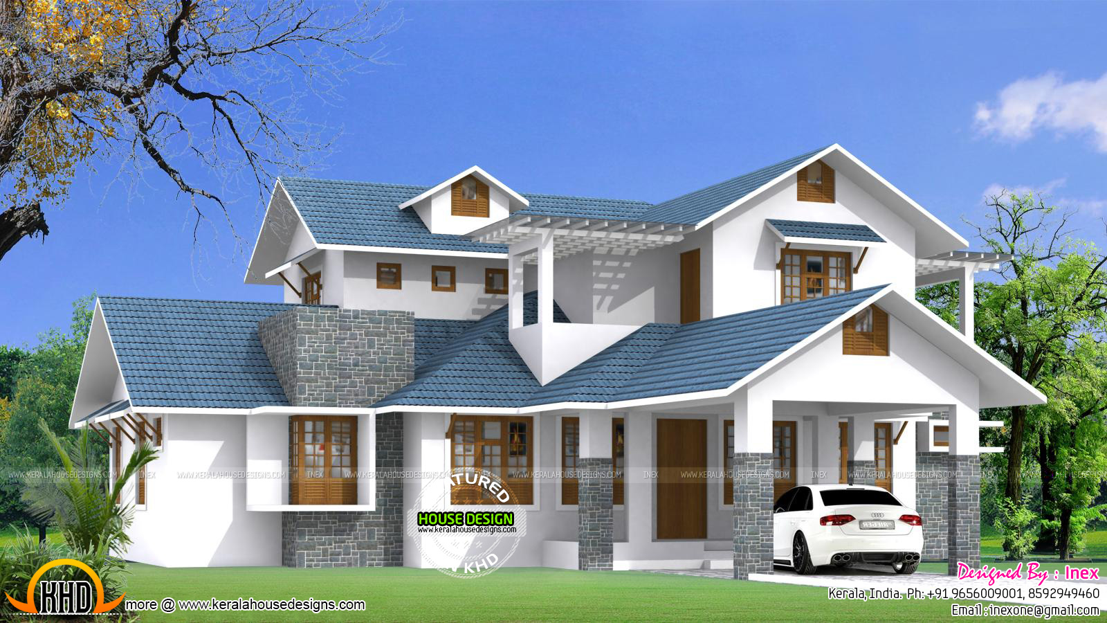 Beautiful blue roof house plan kerala home design and for Blue house builders