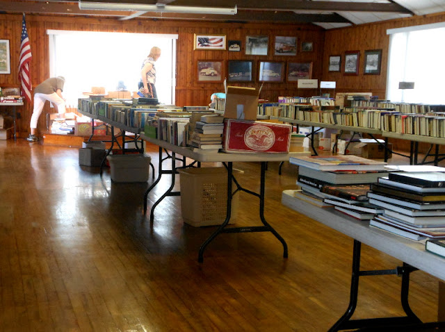 Getting ready for library book sale