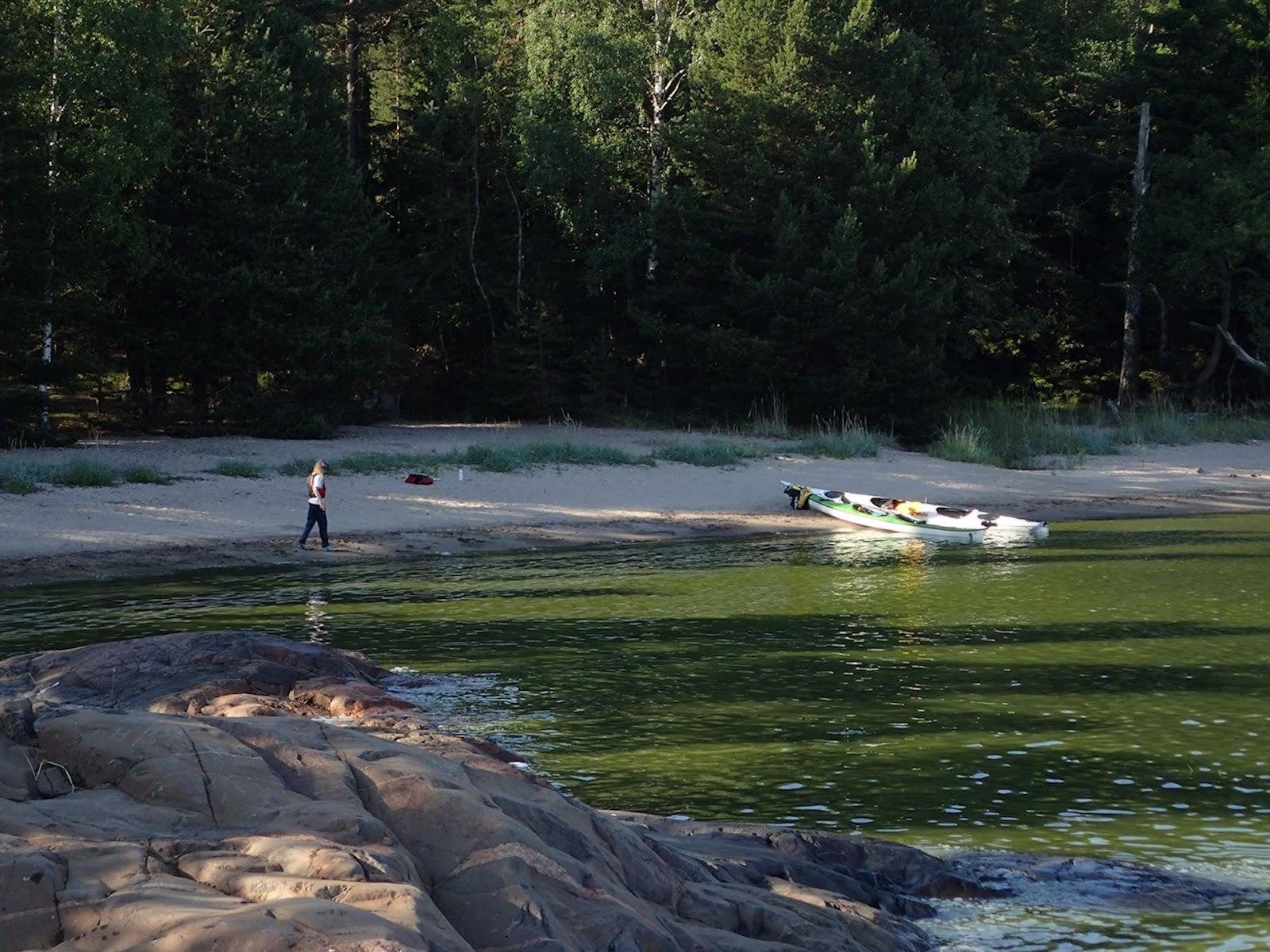 Pentalan hiekkarannan lahti oli vihreänä sinilevästä
