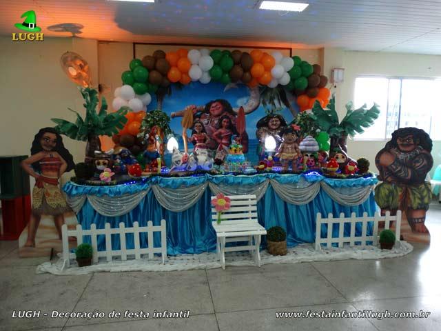Mesa decorada tradicional luxo - Decoração de festa de aniversário feminino tema Moana