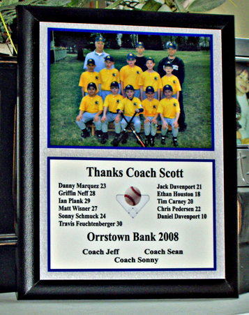Personalized Coaches Gifts With Team Photo Players Names Thank You Message