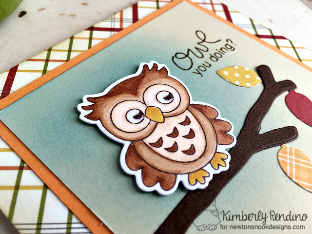 owl card by Kimberly Rendino | Newton's Nook Designs | owl | leaves | autumn | fall | handmade card  | papercraft | stamping | cardmaking | kimpletekreativity.blogspot.com