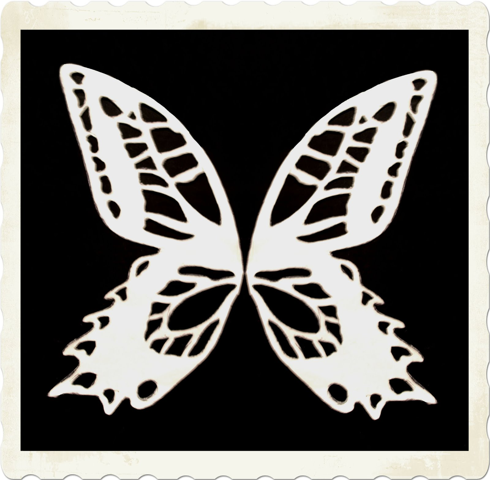 Print Out The White Butterfly Template And Scale It - If Necessary - So  That Each Side Is About As Long As Your Foot But No Longer.