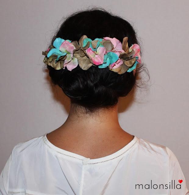 Recogido de pelo para boda, bautizo o comunión en mint, rosa y dorado