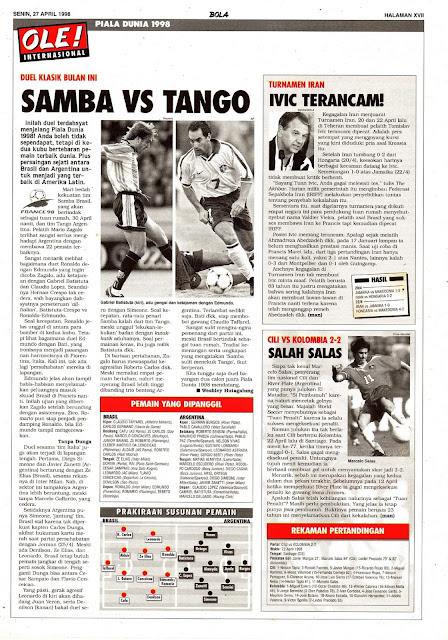 PIALA DUNIA 1998 DUEL KLASIK SAMBA BRASIL VS TANGO ARGENTINA