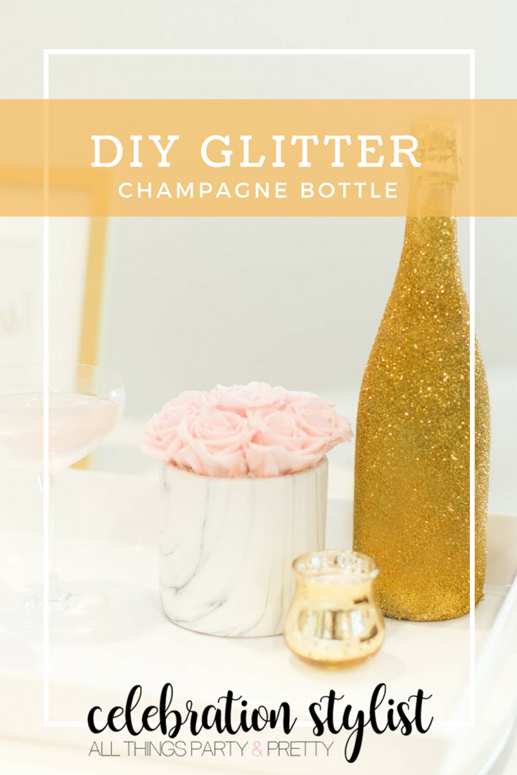 DIY Glitter Champagne Bottle featured by popular party planning blogger, The Celebration Stylist