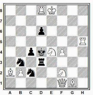 Problema de mate en 2 compuesto por  Juan Zaldo (1º Plaza, Match Francia-España, 1956-57)
