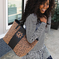 black trim leopard purse